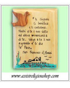 """Quadretto legno """"Benedizione Frate Leone"""""""
